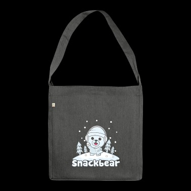 Snack bear / snack bear in the snow - Shoulder Bag made from recycled material