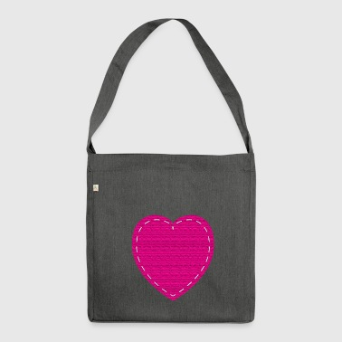 Fabric PINK Love Heart - Shoulder Bag made from recycled material