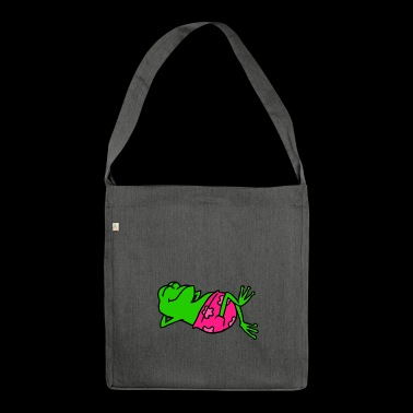 Animal shirt frog with pink swimming trunks basks - Shoulder Bag made from recycled material