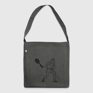 tennis ball court sports bat player spieler squash - Schultertasche aus Recycling-Material
