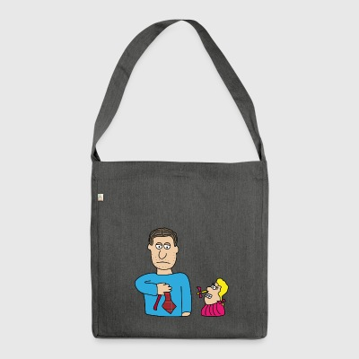Father's Day Father Papa gift family necktie - Shoulder Bag made from recycled material