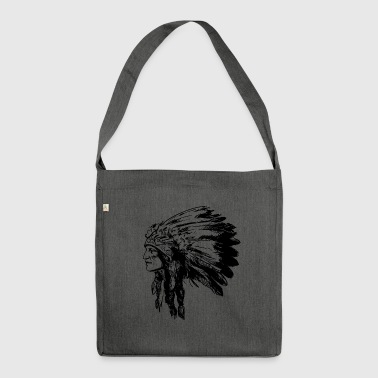 Indian face American Illustration - Shoulder Bag made from recycled material
