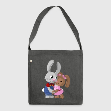 Cute cartoon easter bunny couple - Shoulder Bag made from recycled material