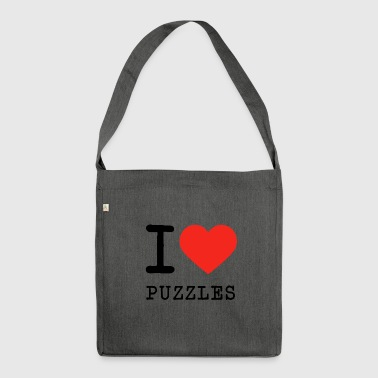 I love Puzzles - Schultertasche aus Recycling-Material