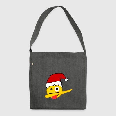 Dabbing Face With Stuck-Out Tongue Emoji Santa - Shoulder Bag made from recycled material