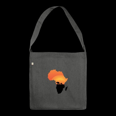 Africa - Elephant - Map - Map - Sunset - Shoulder Bag made from recycled material