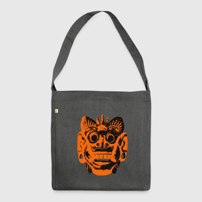 Indonesien Bali maske sort / orange - Skuldertaske af recycling-material