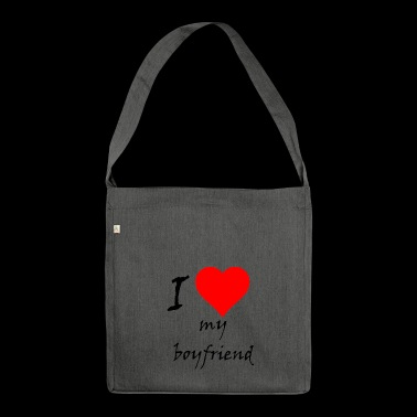 I love my boyfriend / I love / souvenir - Shoulder Bag made from recycled material