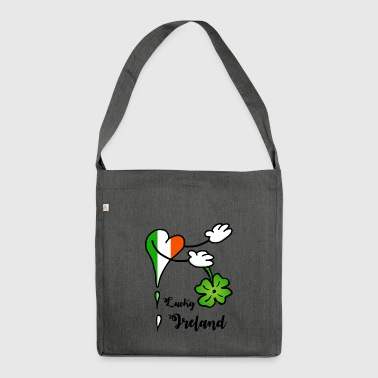 Heart Lucky Ireland shamrock - Shoulder Bag made from recycled material