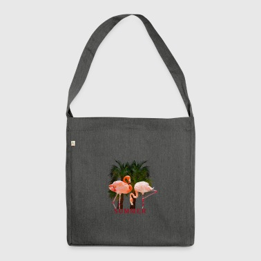 Sommer Flamingos palmen - Schultertasche aus Recycling-Material
