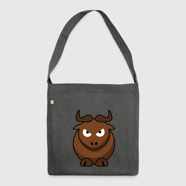 Sweet bull with horns evil eye offensive - Shoulder Bag made from recycled material