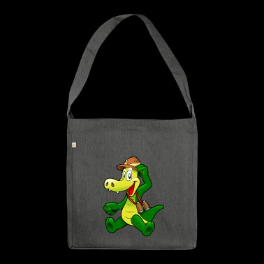 Alligator with hat - Shoulder Bag made from recycled material