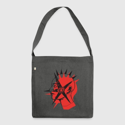 Punk roter Stern - Schultertasche aus Recycling-Material