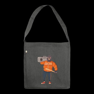 Gangster with baseball bat and ghettoblaster - Shoulder Bag made from recycled material