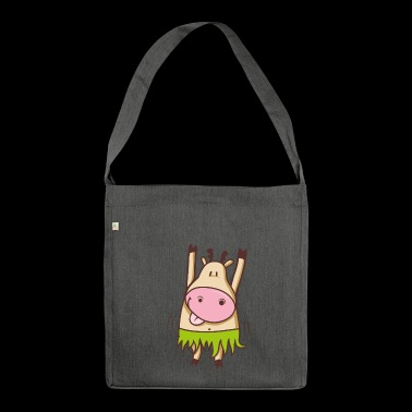 Dancing hula hula cow - Shoulder Bag made from recycled material