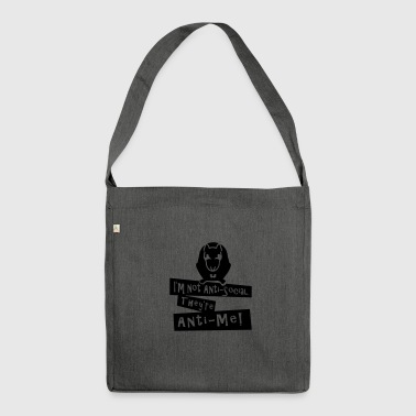 I'm not Anti-Social (rat, 1c) - Shoulder Bag made from recycled material