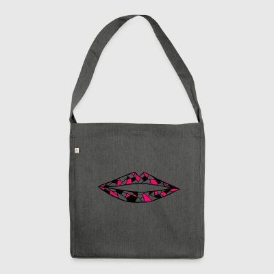 geometric mouth - Shoulder Bag made from recycled material