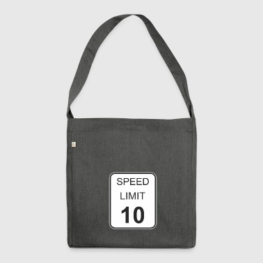 Road sign speed limit 10 - Shoulder Bag made from recycled material