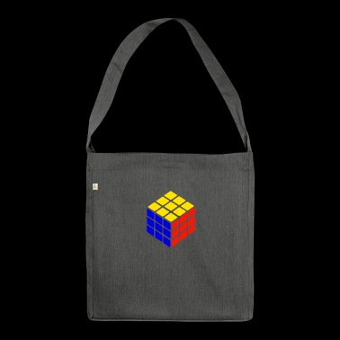 blue yellow red rubik's cube print - Shoulder Bag made from recycled material