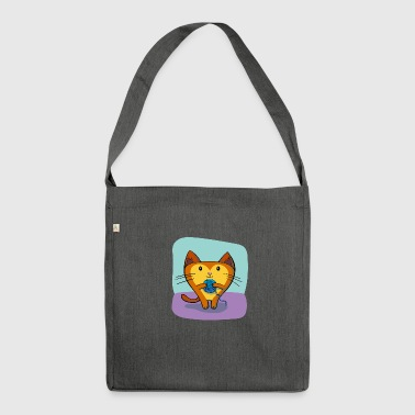 Katze mit Wolle - Schultertasche aus Recycling-Material