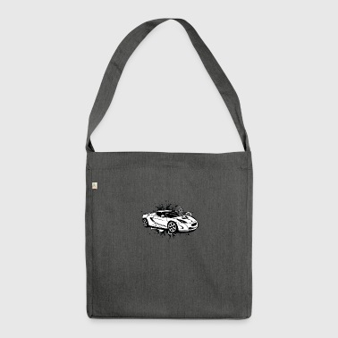 Cool white sportscar - Shoulder Bag made from recycled material