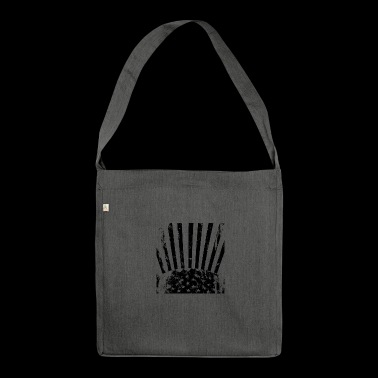 Stars Stripes black white - Shoulder Bag made from recycled material
