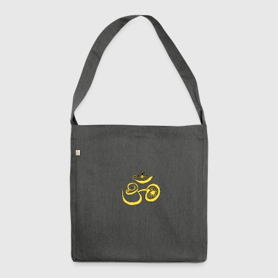 Symbol of Buddhist OM with sun - Shoulder Bag made from recycled material