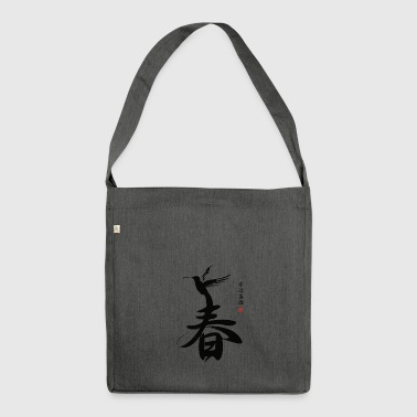 Japanese Script SPRING - Shoulder Bag made from recycled material