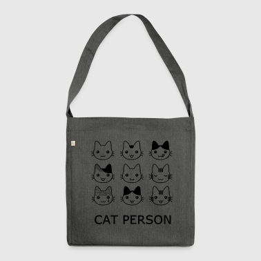 Katze Person - Schultertasche aus Recycling-Material