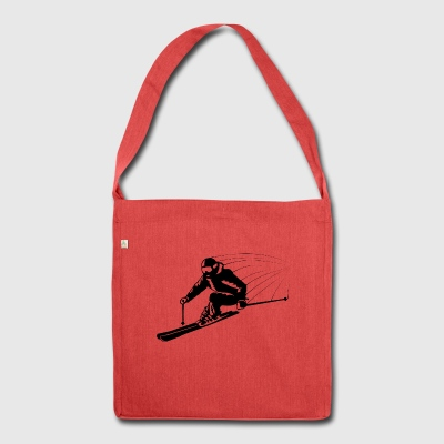Skier skier athletic fast on the road - Shoulder Bag made from recycled material