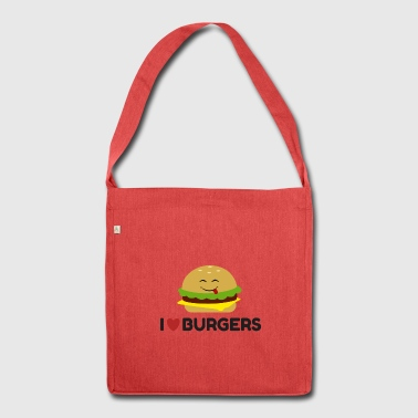 I Love Burgers Funny Burger Emoticon Cute T-shirt - Shoulder Bag made from recycled material