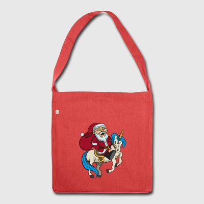 Santa riding unicorn Christmas gift - Shoulder Bag made from recycled material