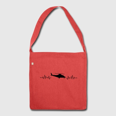 Heartbeat helicopter helicopter - Shoulder Bag made from recycled material