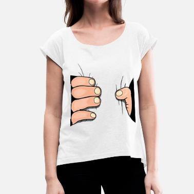 Comic Hand Hand Comic Access Kawaii - Women's T-Shirt with rolled up sleeves