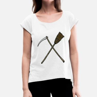 Scythe Halloween scythe broom tool farmer witch - Women's T-Shirt with rolled up sleeves