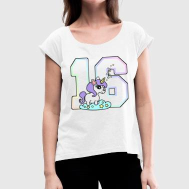 16 number unicorn pastel - Women's T-Shirt with rolled up sleeves