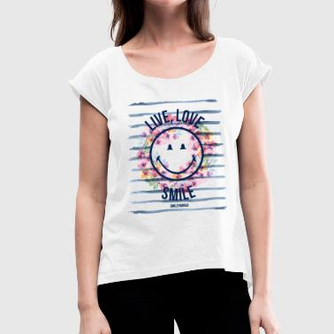 Sommer Smiley World Live Love Smile Spruch Aquarell - Frauen T-Shirt mit gerollten Ärmeln