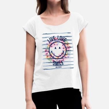 Summer Smiley World Live Love Smile Aquarelle Quote - Women's Rolled Sleeve T-Shirt