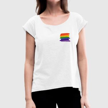Rainbow Paint Rainbow Paint Brushes - Women's T-Shirt with rolled up sleeves
