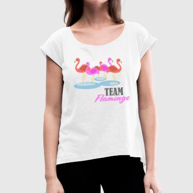 Swarm Flamingo swarm - Women's T-Shirt with rolled up sleeves
