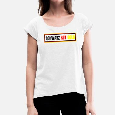 Black And Gold Black Red Gold - Football - Women's T-Shirt with rolled up sleeves