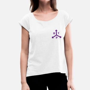 Boston Tea Party Boston Tea Party Purple Logo, idée cadeau - T-shirt à manches retroussées Femme