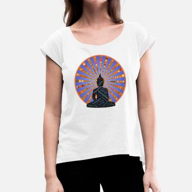 India Yoga YOGA / MEDITATION / BUDDHA / INDIA - Women's T-Shirt with rolled up sleeves
