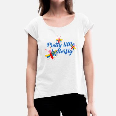 Butterfly, blue - Women's T-Shirt with rolled up sleeves