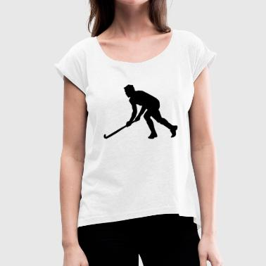 Field Hockey Gift Ideas Hockey field hockey silhouette - Women's T-Shirt with rolled up sleeves