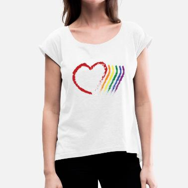 Corazon CORAZON PRIDE - Women's T-Shirt with rolled up sleeves