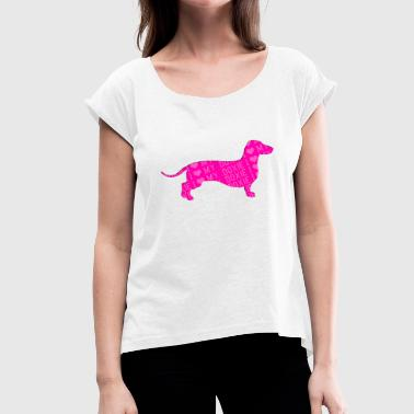 Dixie I love my doxie - Women's T-Shirt with rolled up sleeves