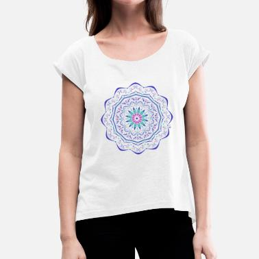 Electric Blue Blue electric mandala - Women's T-Shirt with rolled up sleeves