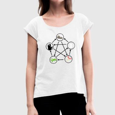Scissors Stone Lizard Spock - Women's T-Shirt with rolled up sleeves