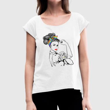 Human Rights Lady Human Right LGBT Pride - Vrouwen T-shirt met opgerolde mouwen